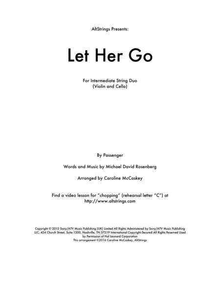 Let Her Go - Violin and Cello Duet