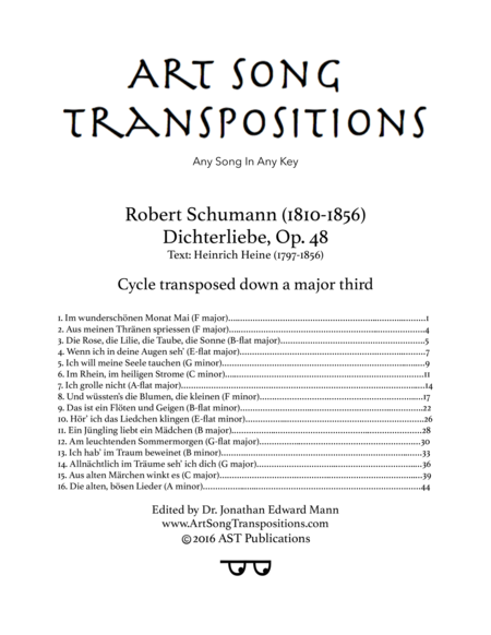 Dichterliebe, Op. 48 (Cycle transposed down a major third)