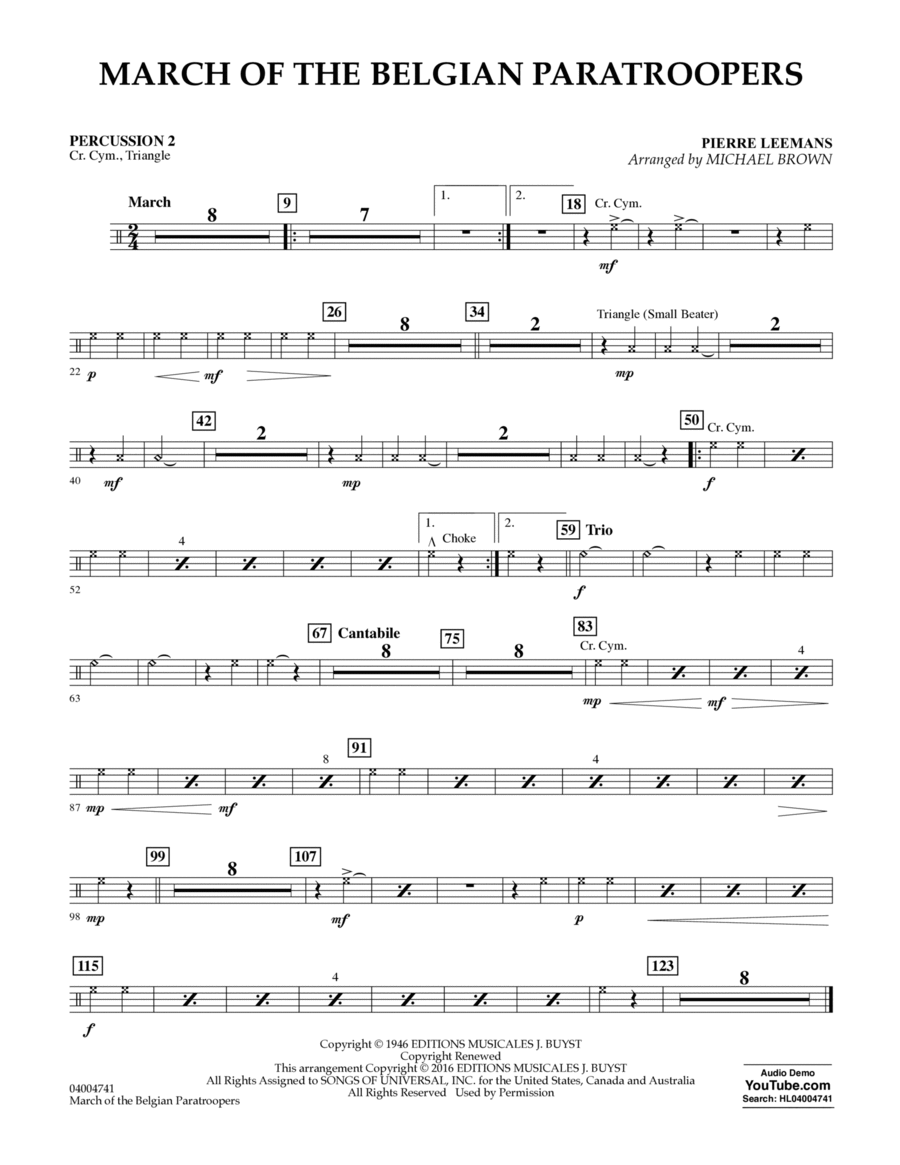 March of the Belgian Paratroopers - Percussion 2