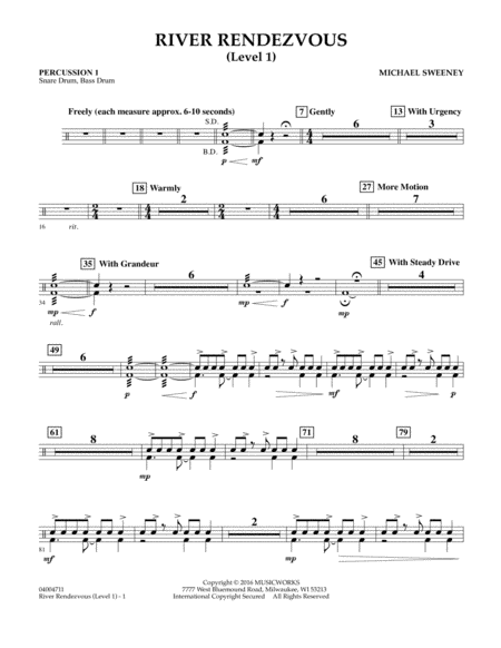 River Rendezvous - Percussion 1 (Level 1)