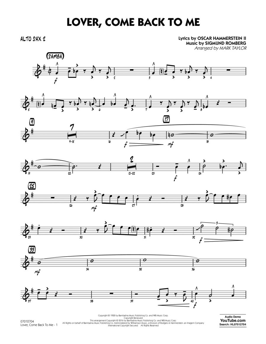 Lover Come Back to Me (Key: B-Flat) - Alto Sax 2