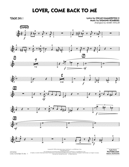 Lover Come Back to Me (Key: B-Flat) - Tenor Sax 1
