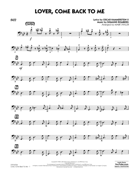 Lover Come Back to Me (Key: B-Flat) - Bass