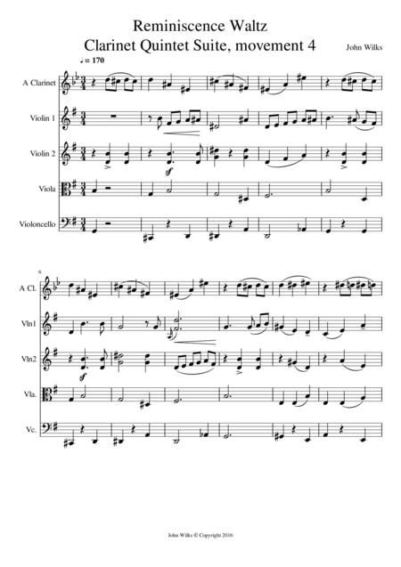 Reminiscence Waltz - Clarinet quintet