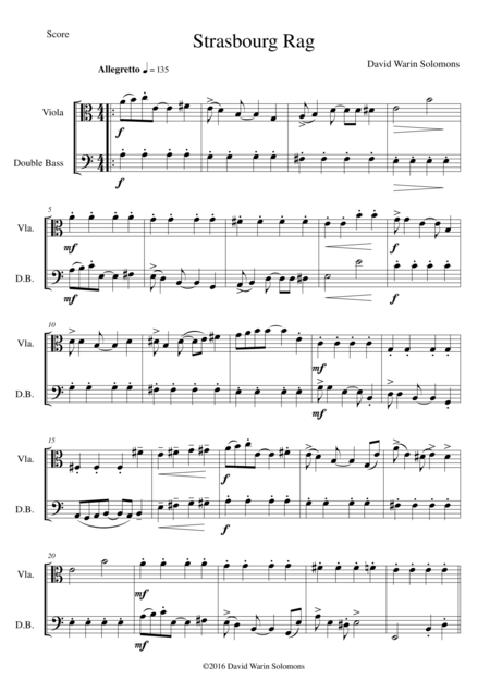 Strasbourg Rag for viola and double bass