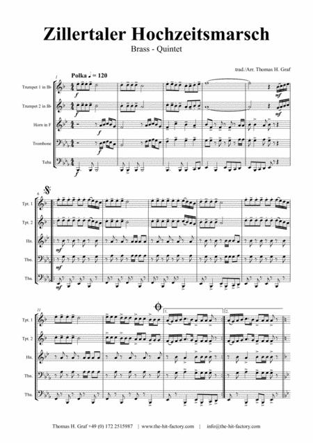 Zillertaler Hochzeitsmarsch - Oktober Fest - Brass Quintet