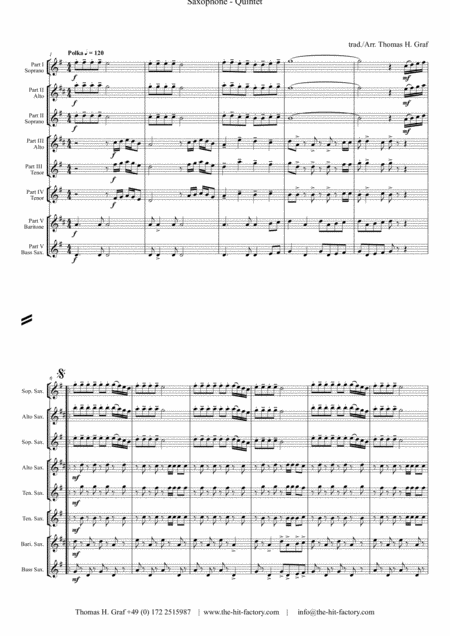 Zillertaler Hochzeitsmarsch - Oktober Fest - Saxophone Quintet