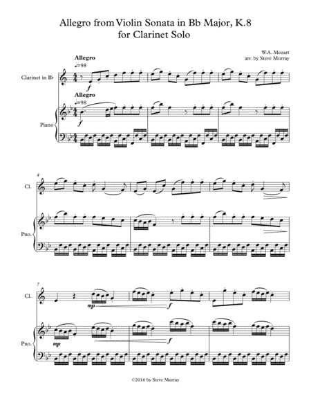 Allegro from Violin Sonata in Bb Major, K.8 for Clarinet Solo