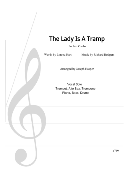 The Lady Is A Tramp (Vocal Jazz Combo in G)