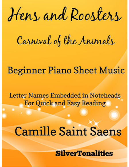 Hens and Roosters Carnival of the Animals Beginner Piano Sheet Music