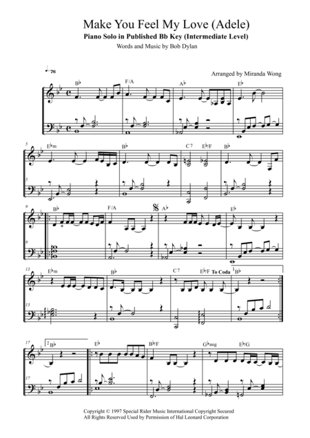 Make You Feel My Love - Piano Solo in Published Bb Key (Intermediate Level)