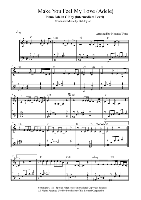 Make You Feel My Love - Piano Solo in C Key (With Chords)