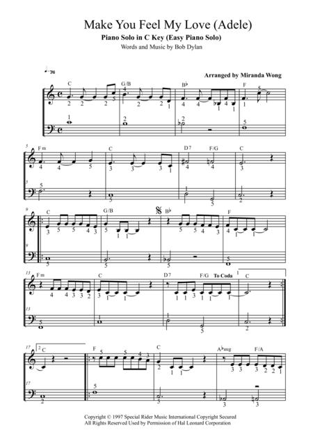 Make You Feel My Love - Easy Piano Solo in C Key (Full Fingerings)