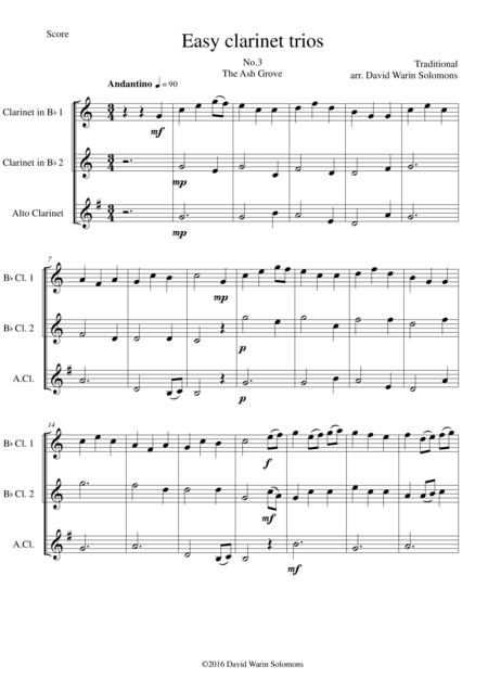 The Ash Grove (Llwyn Onn) for clarinet trio (2 B flats 1 Alto)