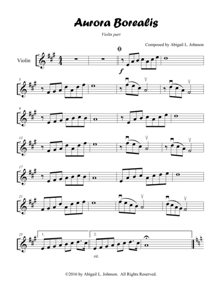 Aurora Borealis - Violin, Piano, and Cello