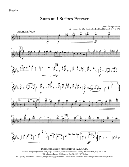 Stars and Stripes Forever (Orchestra and/or Concert Band, with optional Chorus) Letter Size 8.5