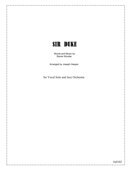 Sir Duke (Vocal Solo and Jazz Orchestra-score only)