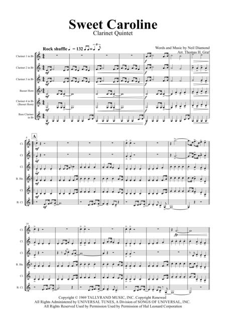 Sweet Caroline - Neil Diamond Classic - Clarinet Quintet