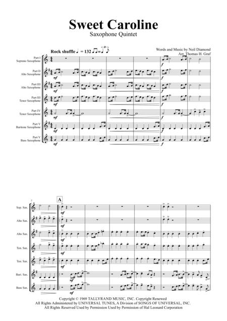 Sweet Caroline - Neil Diamond Classic - Saxophone Quintet