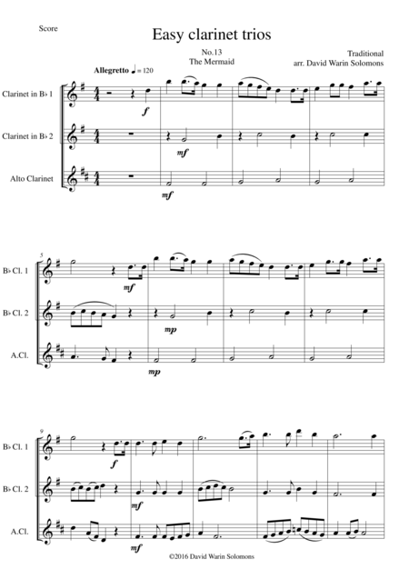 The Mermaid for clarinet trio (2 B flats and 1 Alto)