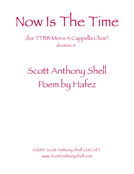 Now Is the Time (Poem by Hafez)