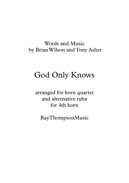 Beach Boys: God Only Knows - brass quintet (horn quartet/tuba)