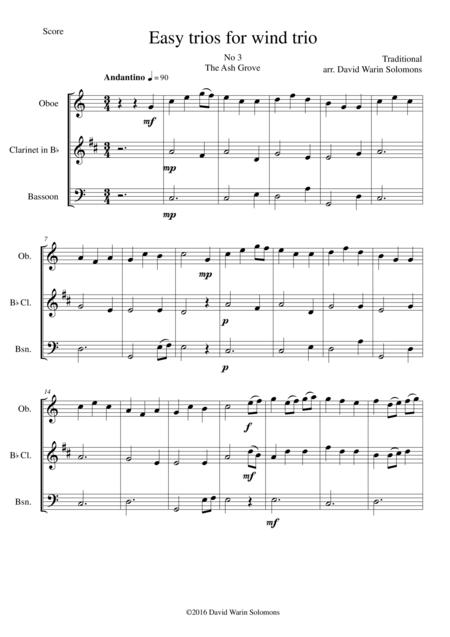The Ash Grove (Llwyn Onn) for wind trio (oboe, clarinet, bassoon)