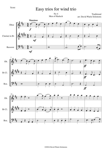 Men of Harlech (Rhyfelgyrch Gwŷr Harlech) for wind trio (oboe, clarinet, bassoon)