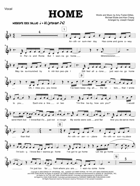 Home (Vocal and Jazz Ensemble) (parts only)