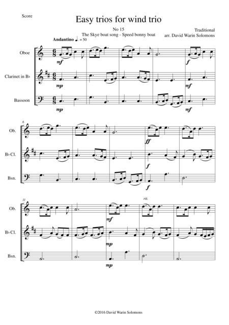 The Skye boat song (Speed bonny boat) for wind trio (oboe, clarinet, bassoon)