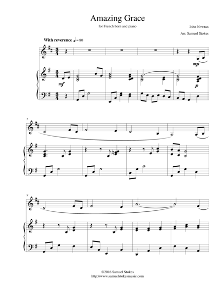 Amazing Grace - for French horn and piano