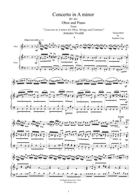 Vivaldi - Oboe Concerto in A minor RV 461 for Oboe and Piano