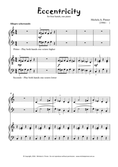 Eccentricity (duet for four hands, 1 piano)