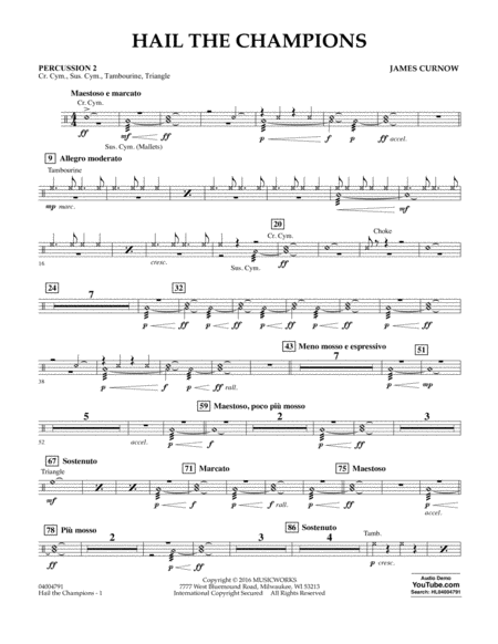 Hail the Champions - Percussion 2