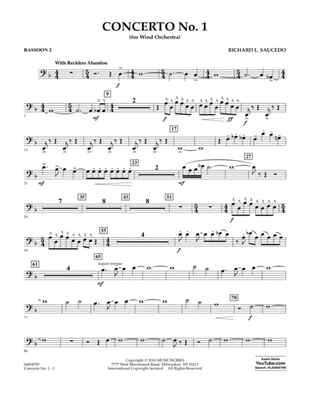 Concerto No. 1 (for Wind Orchestra) - Bassoon 2