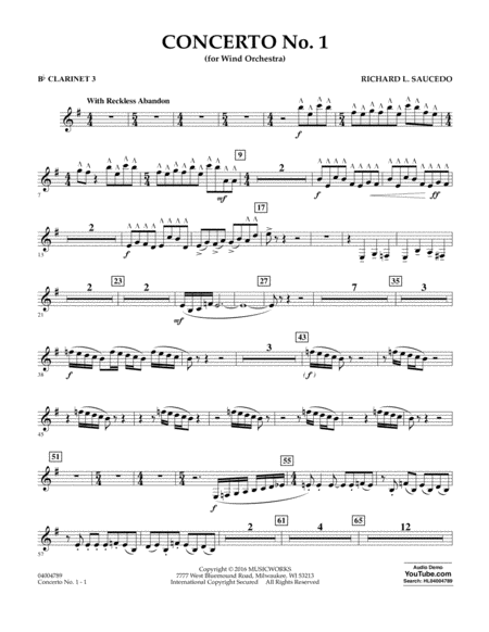 Concerto No. 1 (for Wind Orchestra) - Bb Clarinet 3