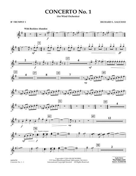 Concerto No. 1 (for Wind Orchestra) - Bb Trumpet 1