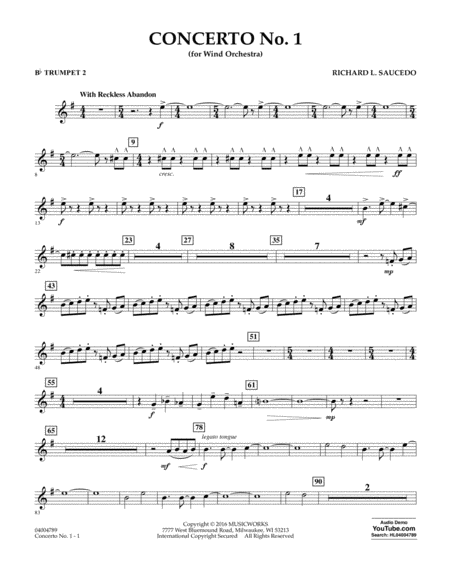Concerto No. 1 (for Wind Orchestra) - Bb Trumpet 2