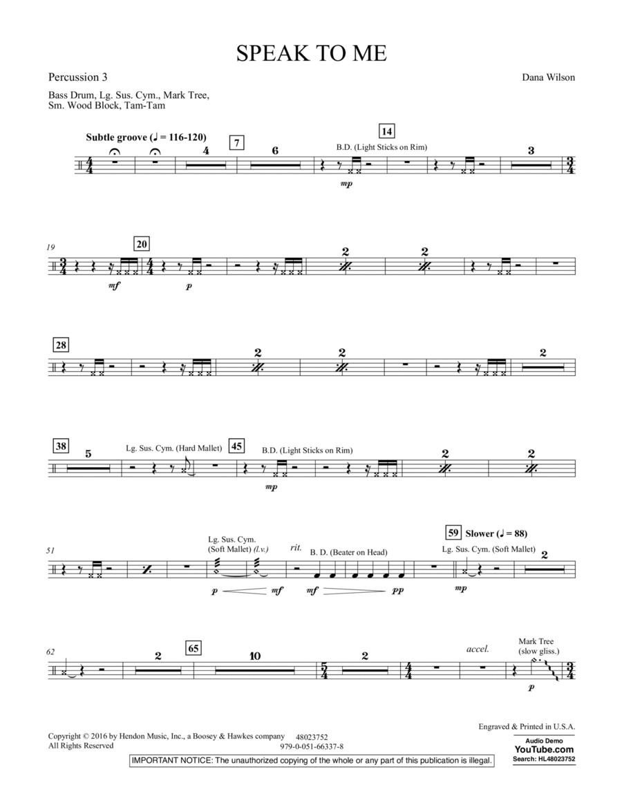 Speak to Me - Percussion 3