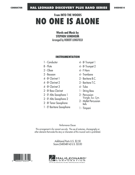 No One Is Alone - Conductor Score (Full Score)