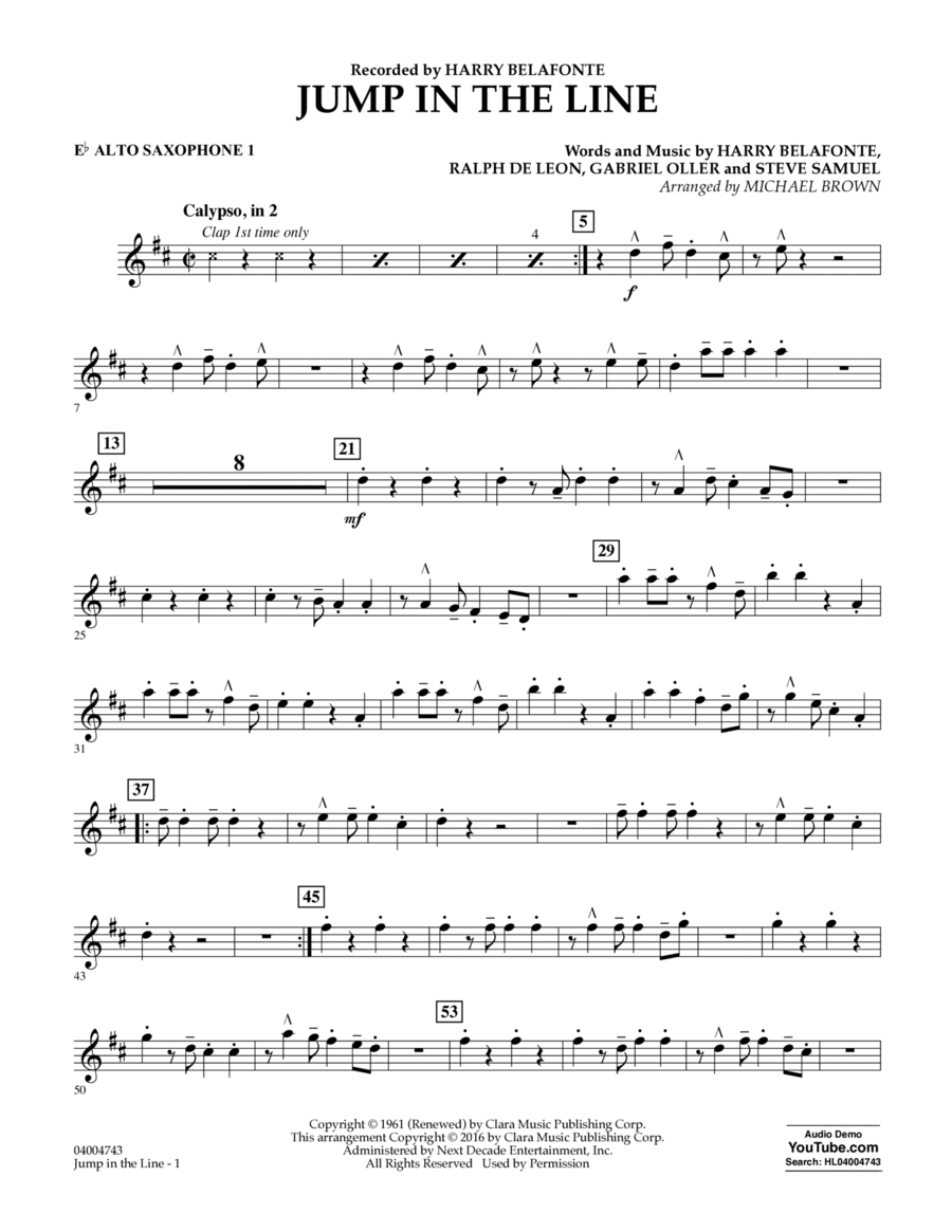 Jump in the Line - Eb Alto Saxophone 1