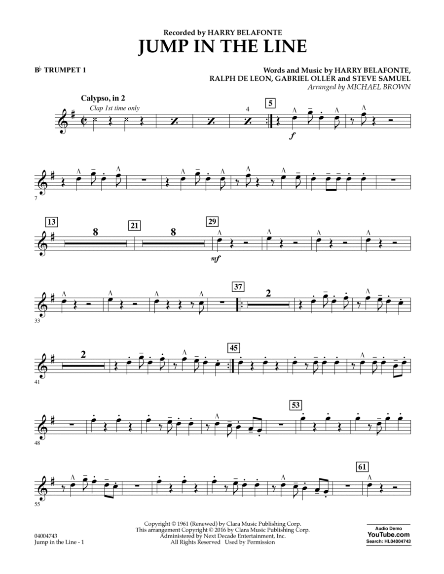 Jump in the Line - Bb Trumpet 1
