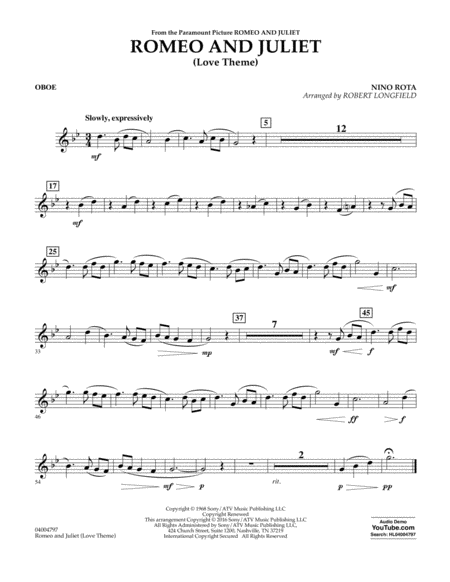 Romeo and Juliet (Love Theme) - Oboe
