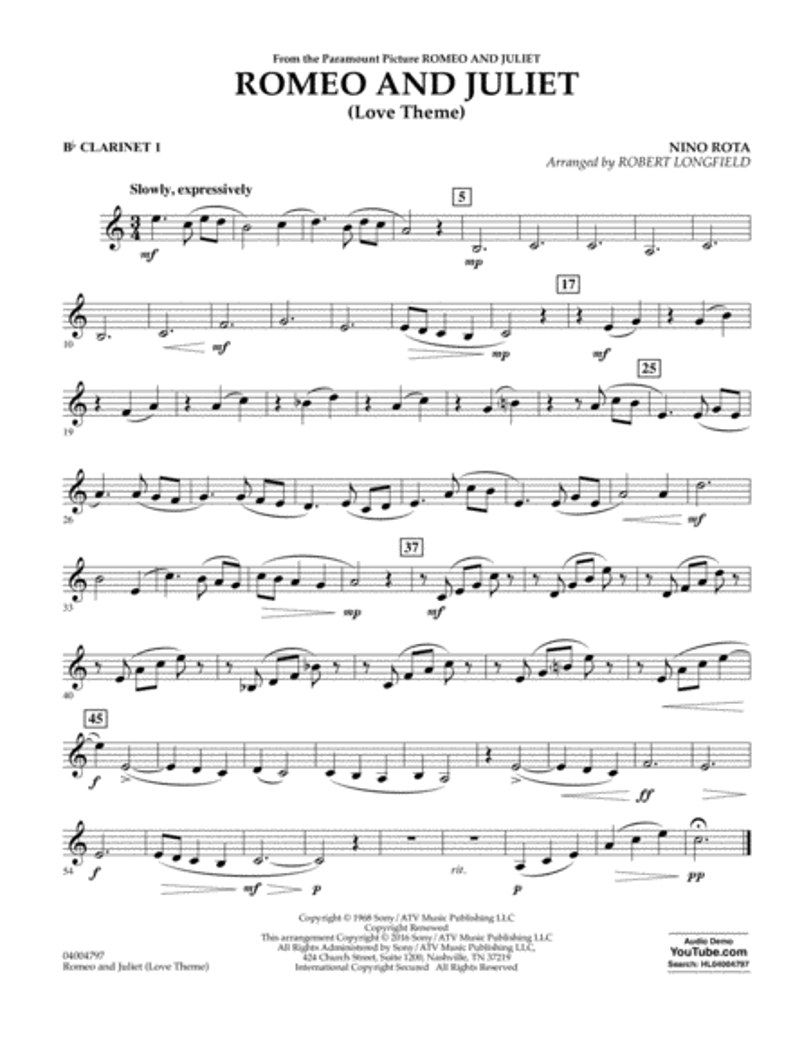 Romeo and Juliet (Love Theme) - Bb Clarinet 1