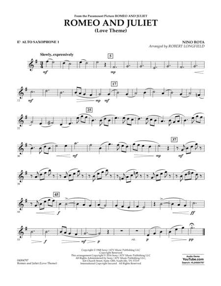 Romeo and Juliet (Love Theme) - Eb Alto Saxophone 1