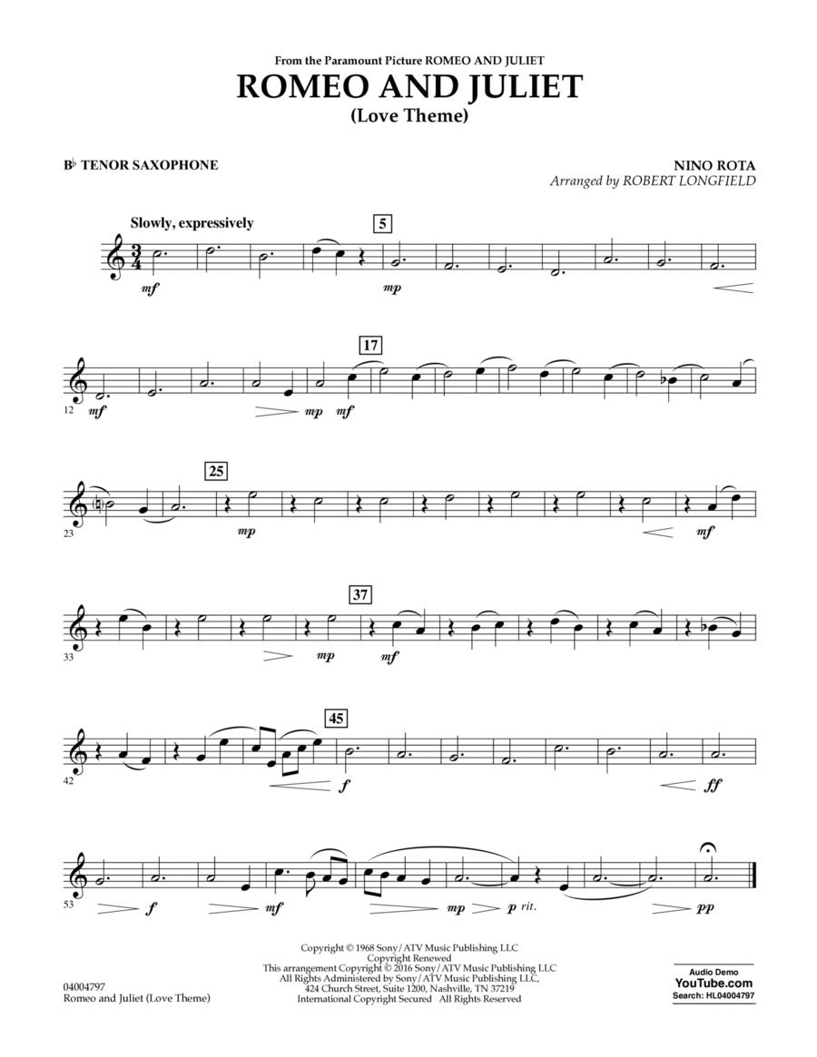 Romeo and Juliet (Love Theme) - Bb Tenor Saxophone