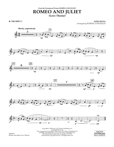 Romeo and Juliet (Love Theme) - Bb Trumpet 2