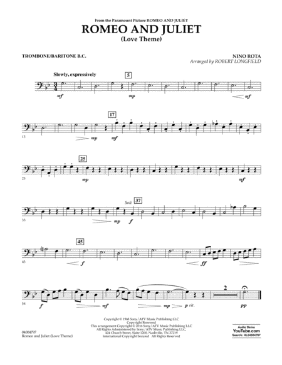 Romeo and Juliet (Love Theme) - Trombone/Baritone B.C.