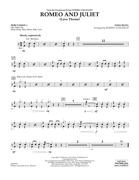 Romeo and Juliet (Love Theme) - Percussion 1
