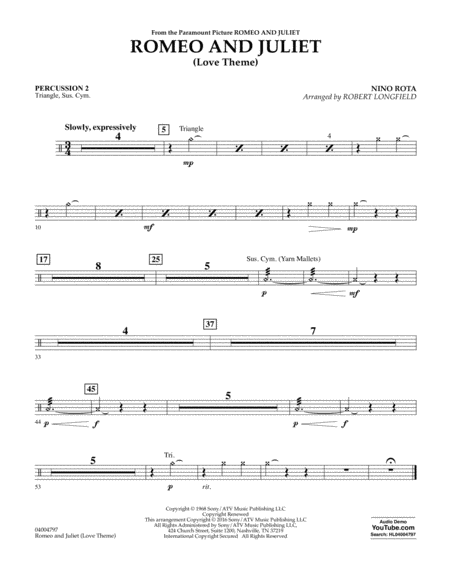 Romeo and Juliet (Love Theme) - Percussion 2